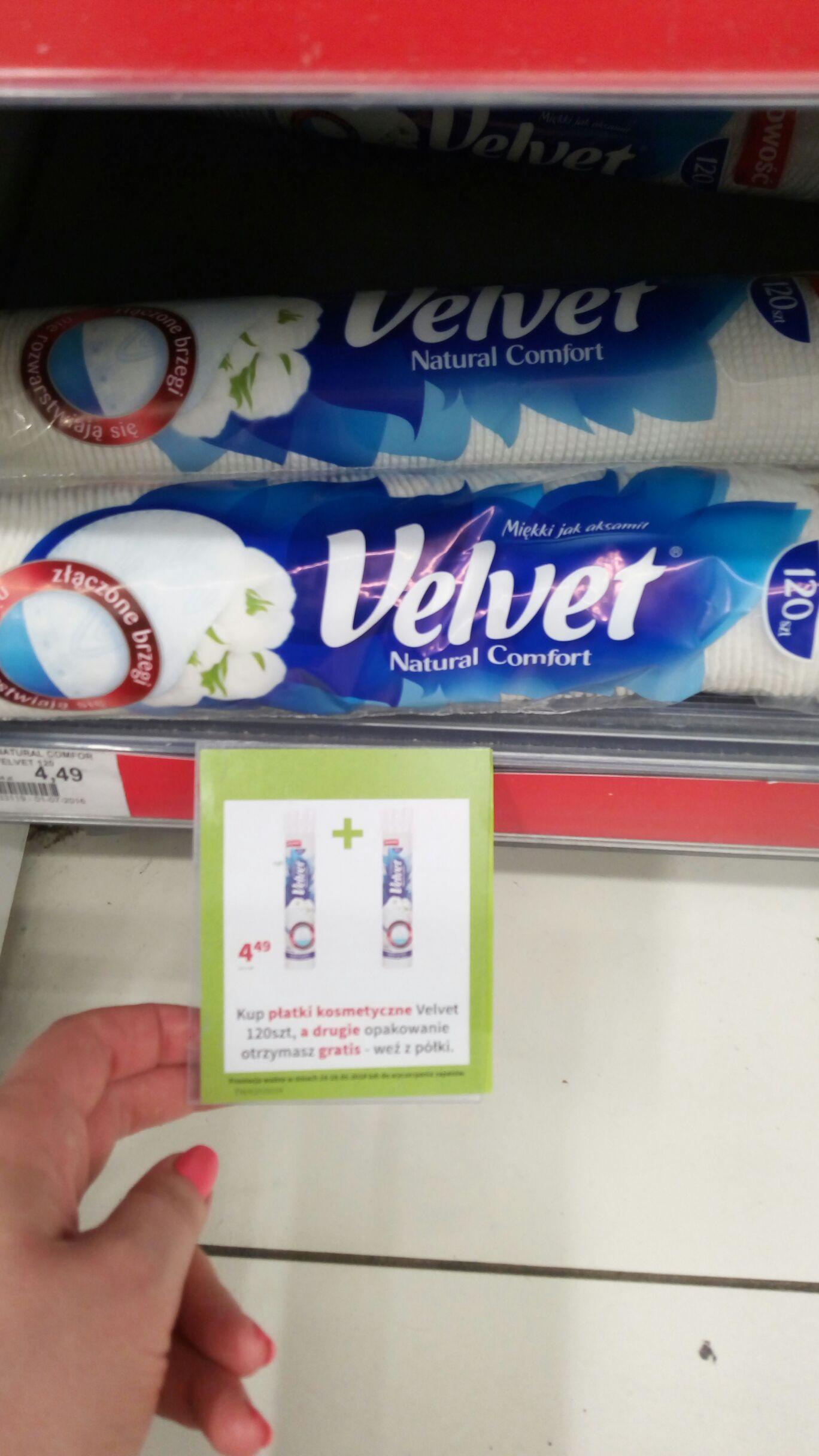 1+1 gratis na płatki kosmetyczne Velvet 120 szt. (cena za 1 op. przy 2)