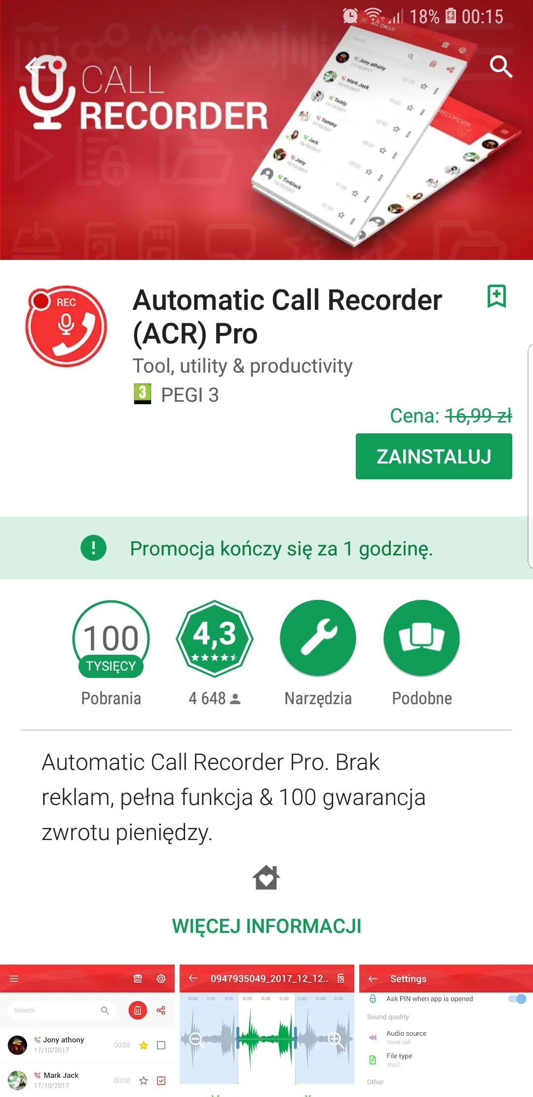 Call Recorder Pro za darmo w Google Play