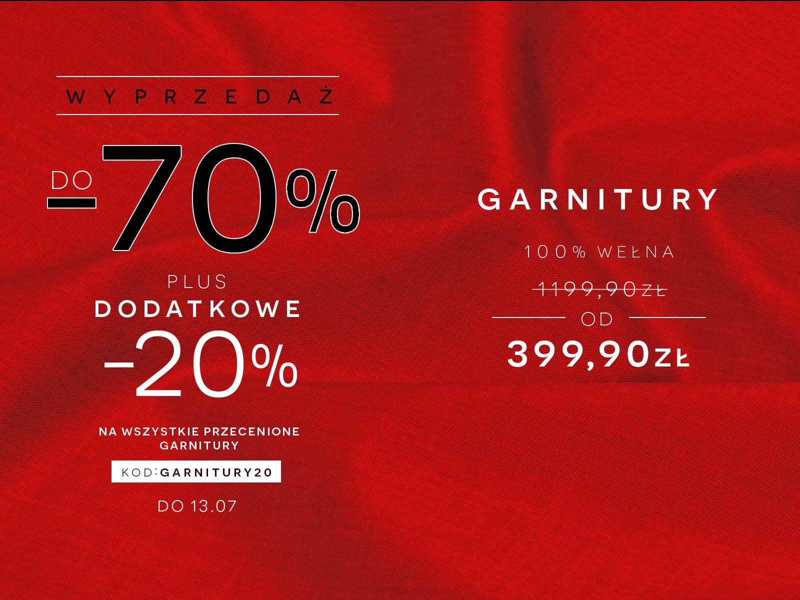 Dodatkowy rabat -20% na wszystkie przecenione garnitury @ Bytom