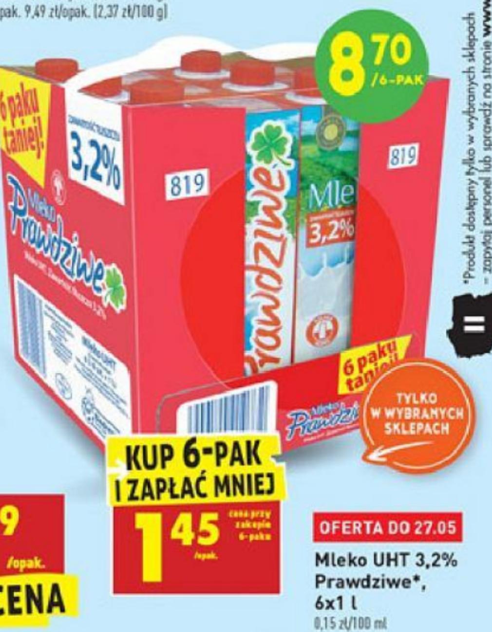 6pak mleka Prawdziwe UHT 3.2% za 8.7zł @Biedronka