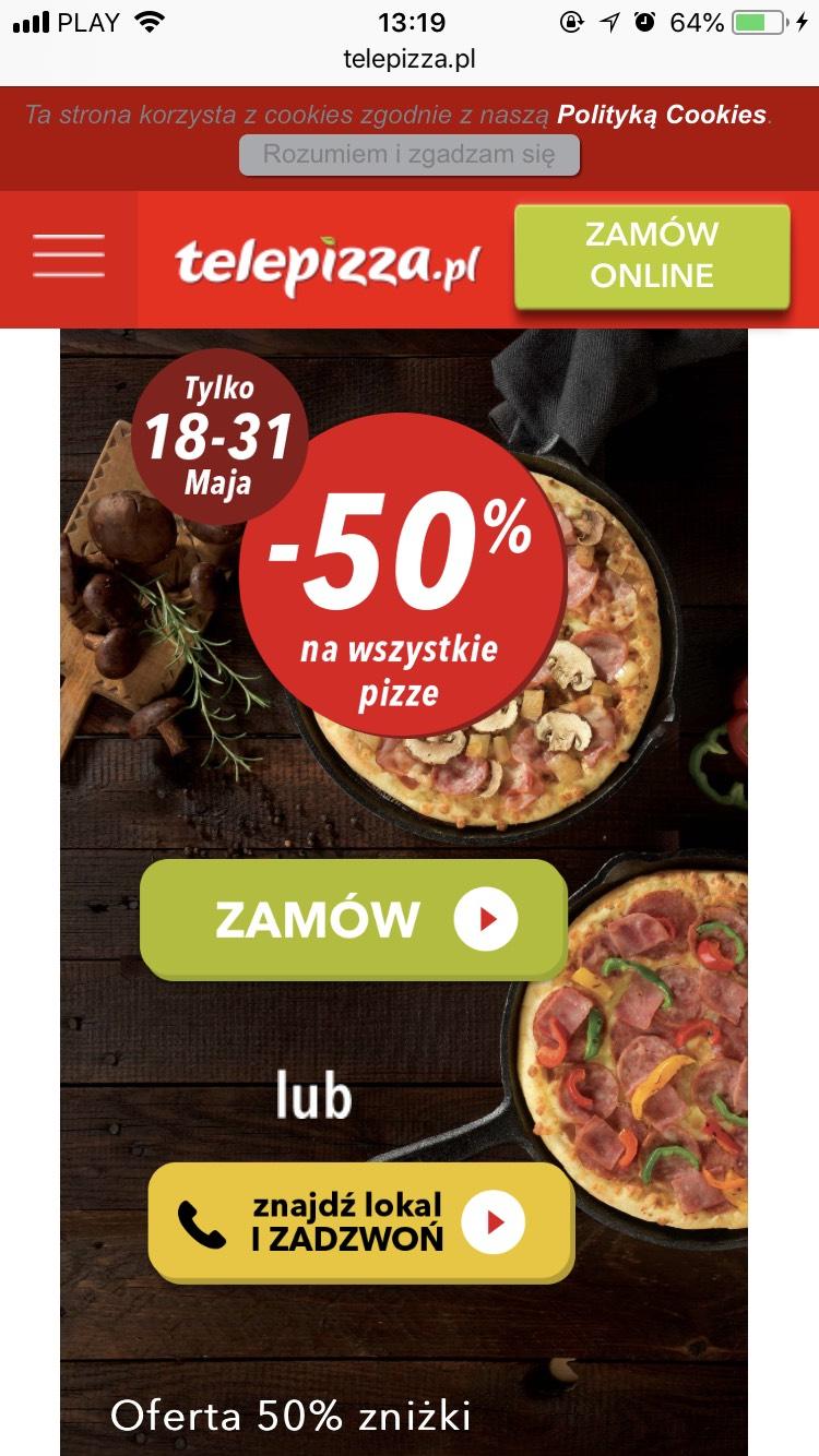 Telepizza -50% na wszystkie pizze.