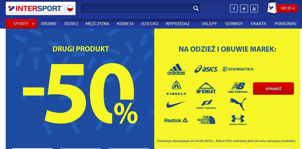 -50% na drugi produkt , Oferta łączy się z innymi przecenami!!!!! w INTERSPORT