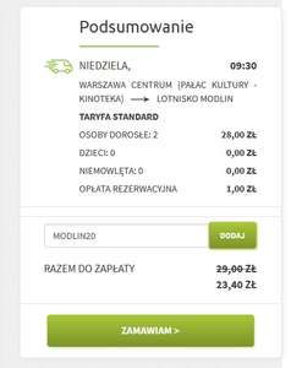 kupon -20% na Modlin Bus