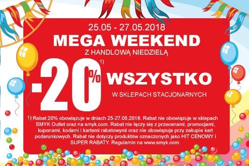 -20% Mega weekend z handlową niedzielą w SMYK sklepy stacjonarne