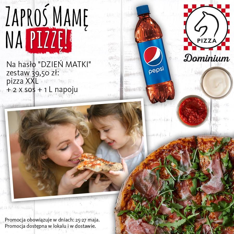 W Pizza Dominium, w dniach 25-27 maja Pizza XXL do 3 składników + 2 sosy + 1L napoju tylko za 39,50 zł ze specjalnym hasłem
