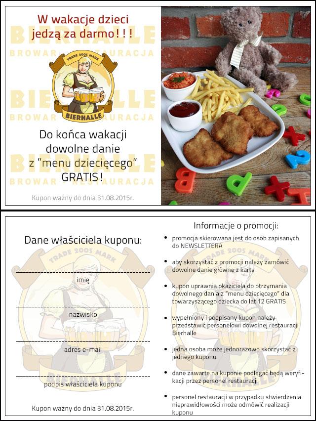 Dowolne danie z menu dziecięcego gratis @ Bierhalle