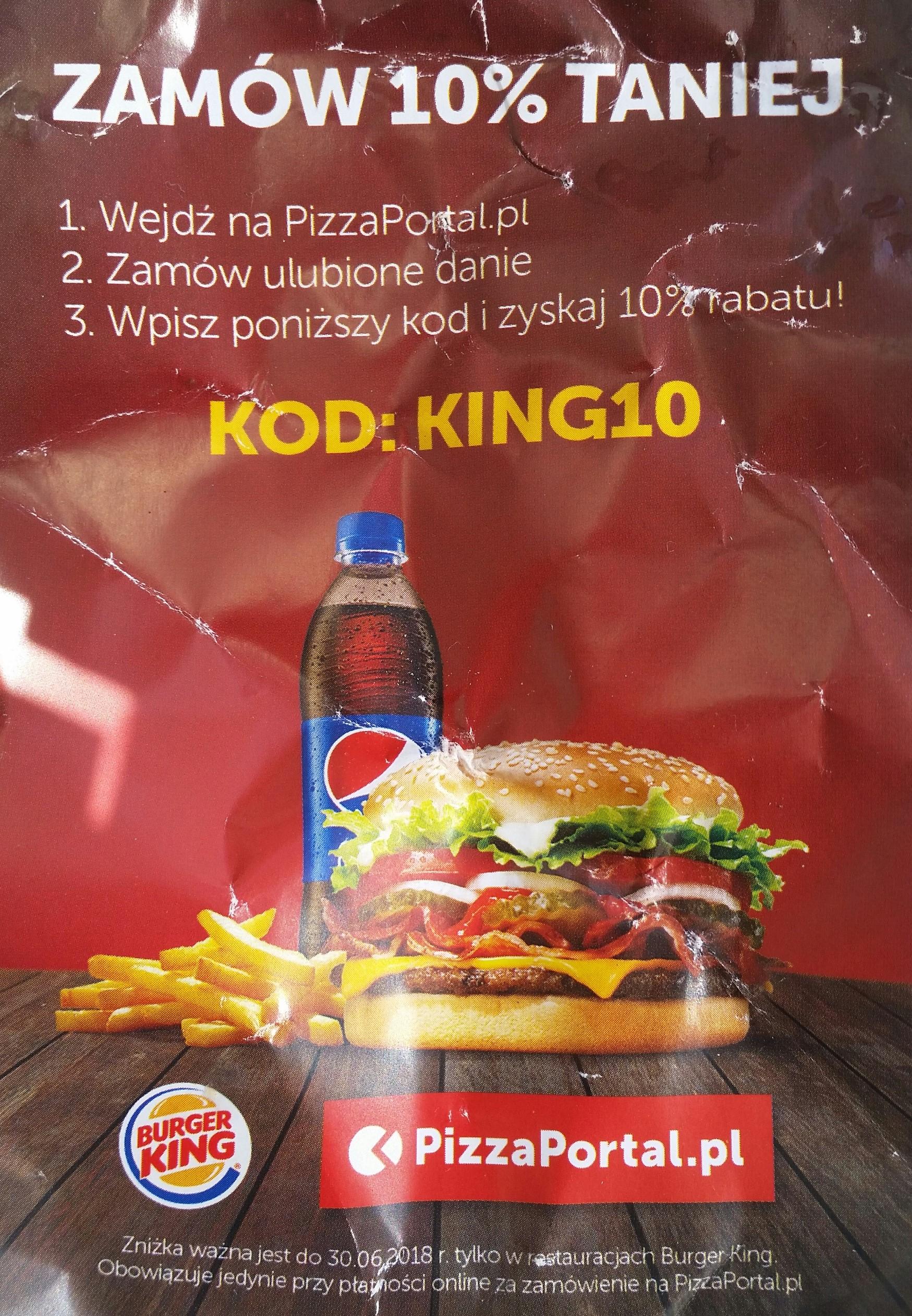 10% zniżki  na zamówienie z Burger King przez PizzaPortal.pl
