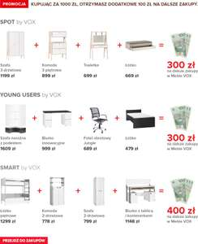 Kup meble za 1000zł a 100zł na dalsze zakupy dostaniesz w prezencie @ Meble VOX
