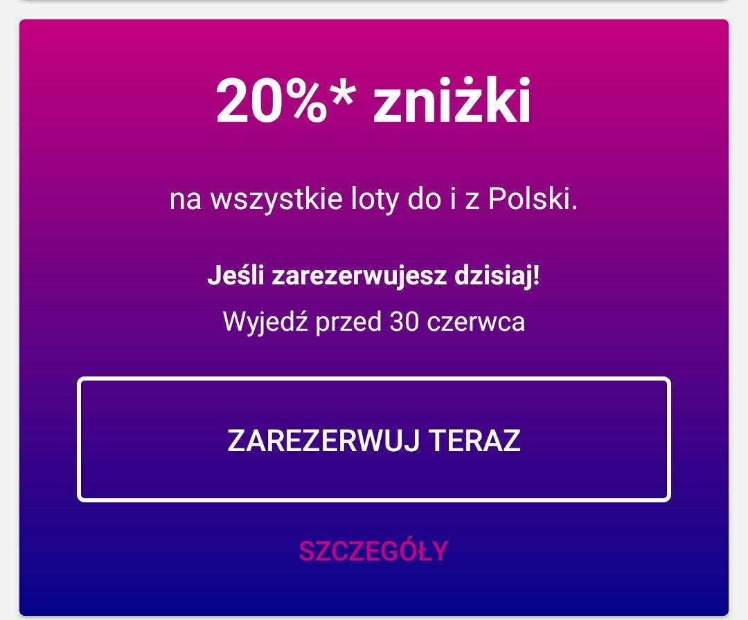 -20% na loty czerwcowe w Wizzair