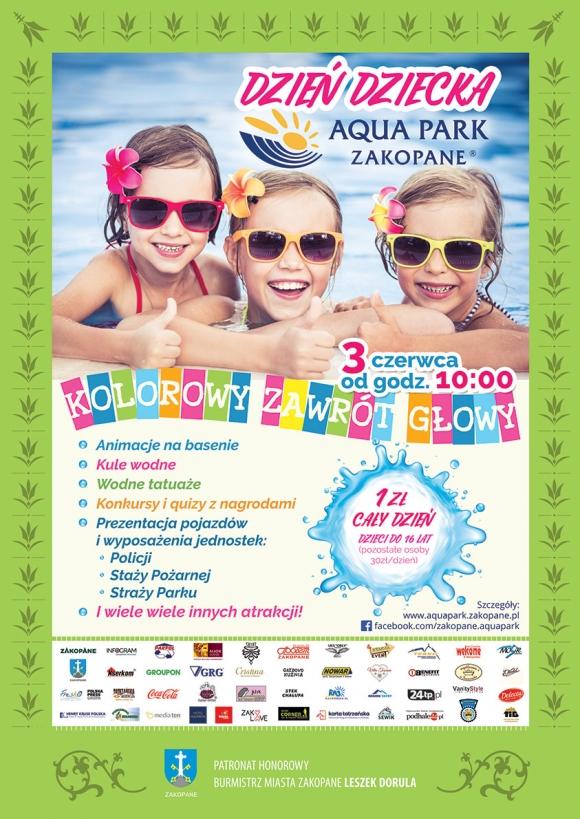Aqua Park Zakopane: 1zł za bilet całodniowy dla dziecka do 16 lat (30zł os. dorosła zamiast 69zł)