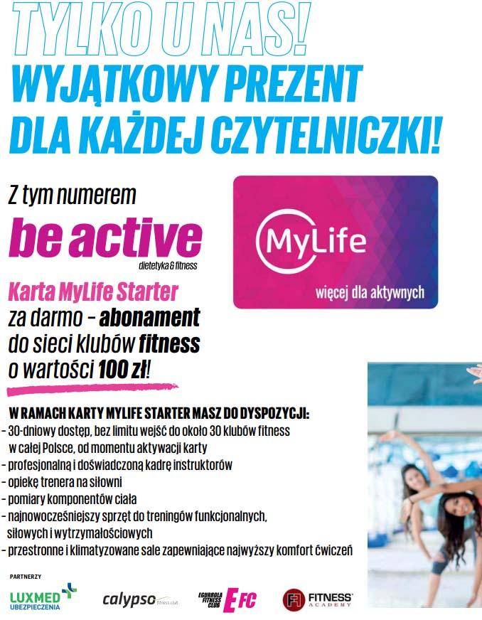 Karta do sieci klubów fitness o wartości 100zł z gazetą Be Active