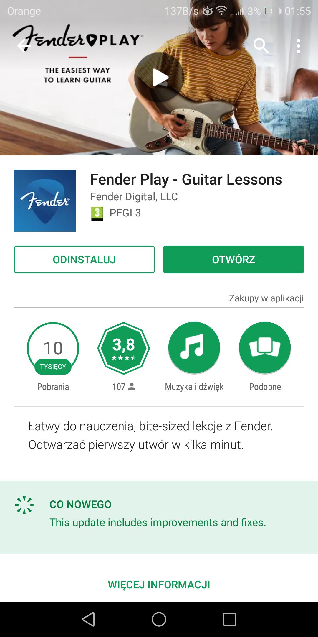 Fender Play - nauka gitary od podstaw pierwszy miesiąc za darmo