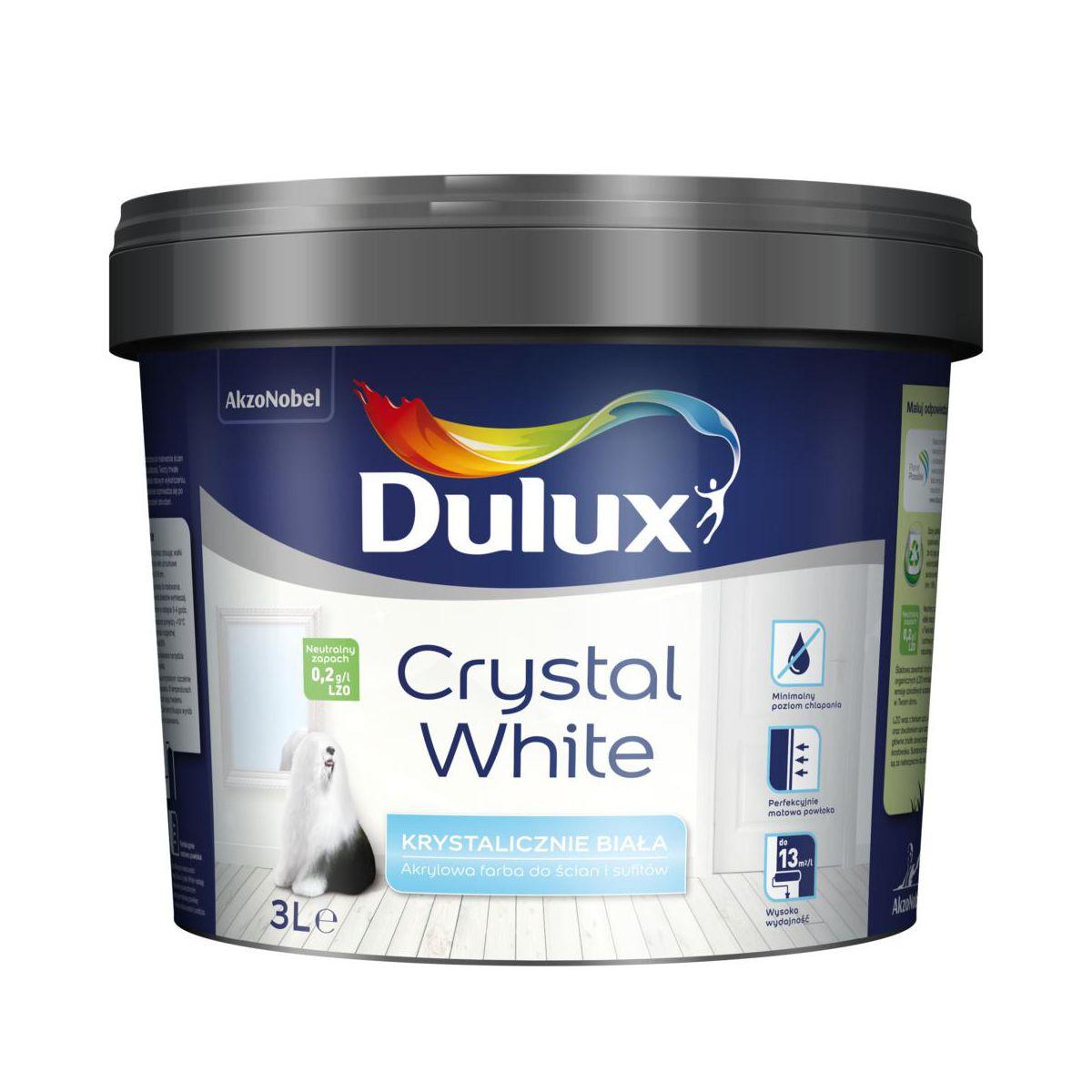 Farba Dulux Crystal White 3 L w cenie 1 zł, przy zakupie min. 5 litrów farby Dulux - Leroy Merlin