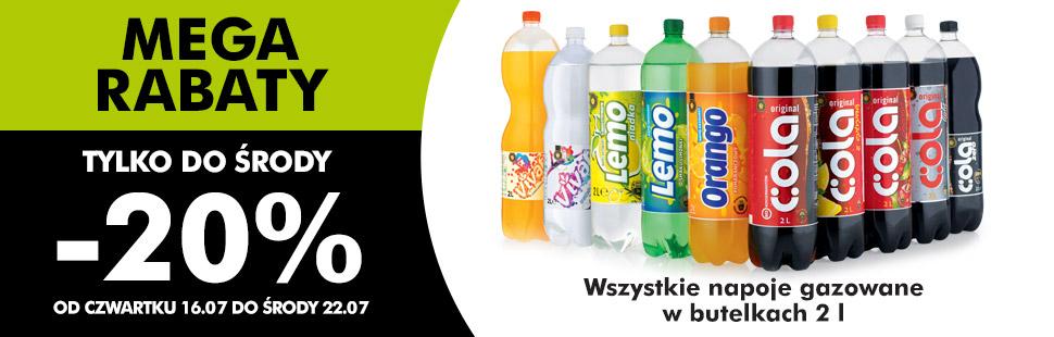 Napoje gazowane w butelkach 2l taniej o 20% @ Biedronka