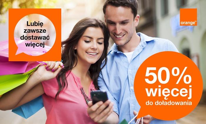 Kupon dający +50% wartości doładowania do wydania w Orange, na SMS oraz Internet @ Groupon
