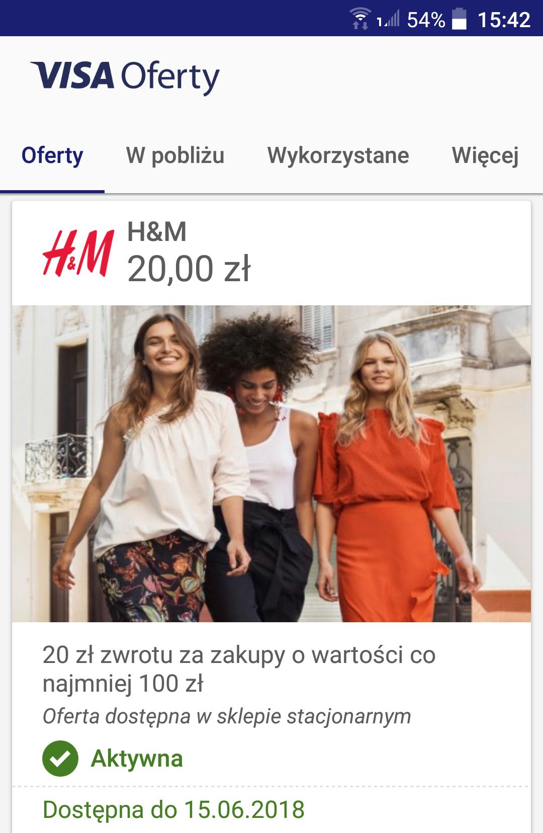 Visa Oferty- zwrot 20 zł H&M, MWZ 100 zł (ponownie dostępne)