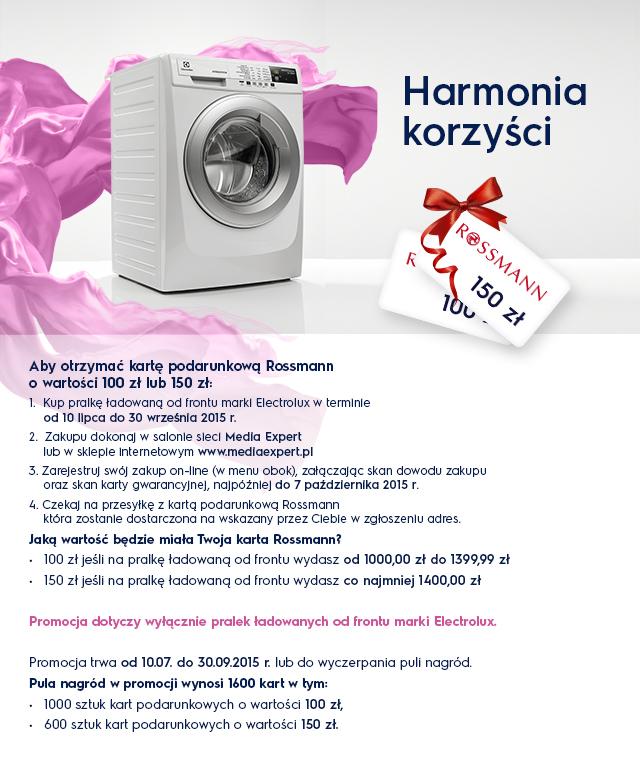 Bon do Rossmanna (do 150zł) przy zakupie pralki Electrolux @ Media Expert
