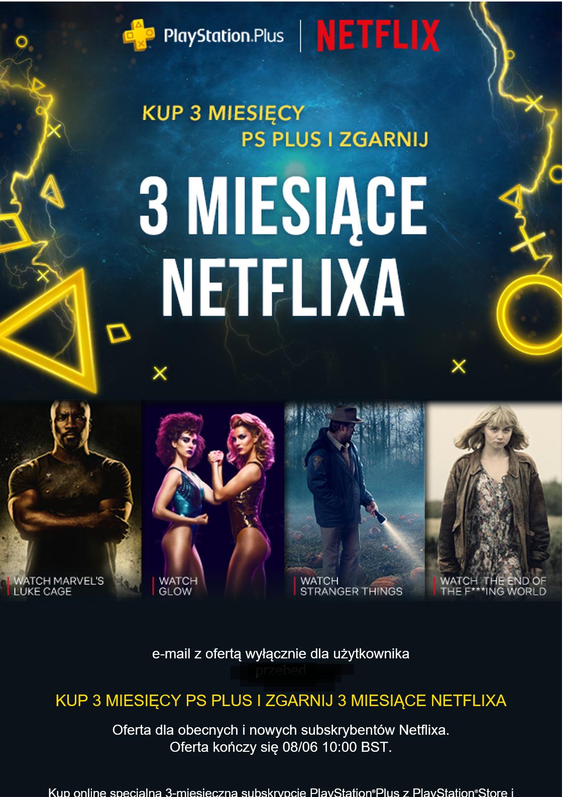 PS Plus 3 miesiące + Netflix HD 3 miesiące gratis