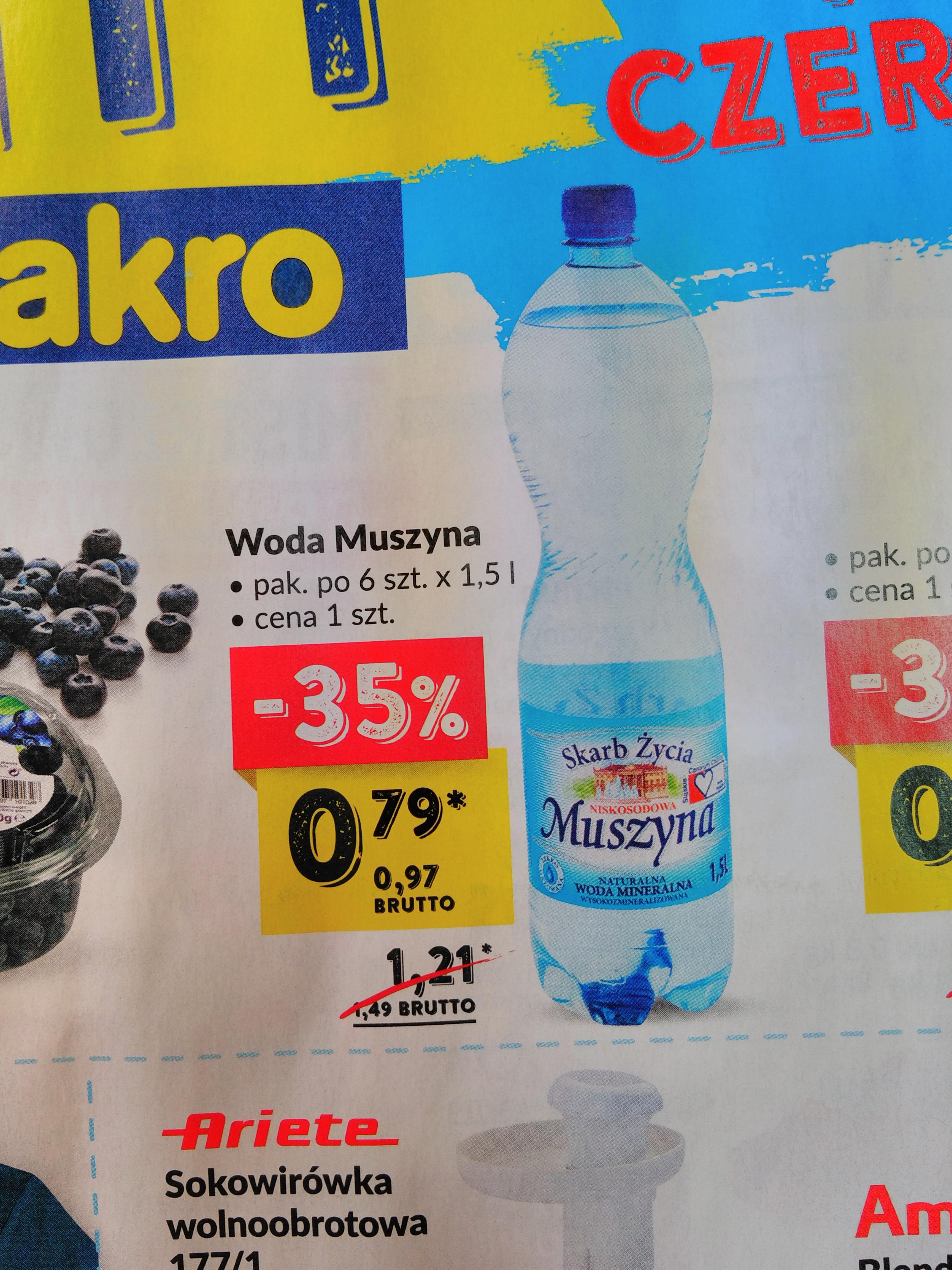 Woda mineralna Muszyna 1,5 l za 0,97 zl w Makro 7-9 czerwca