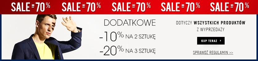 Dodatkowe rabaty na produkty z wyprzedaży: -10% na 2 sztukę i -20% na 3 @ Vistula