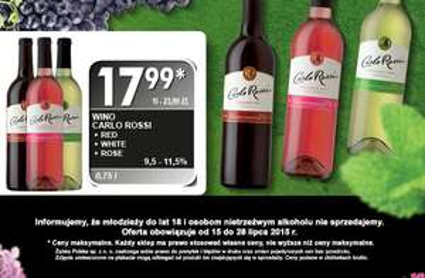 Wino Carlo Rossi za 17,99zł (red, white rose) @ Żabka