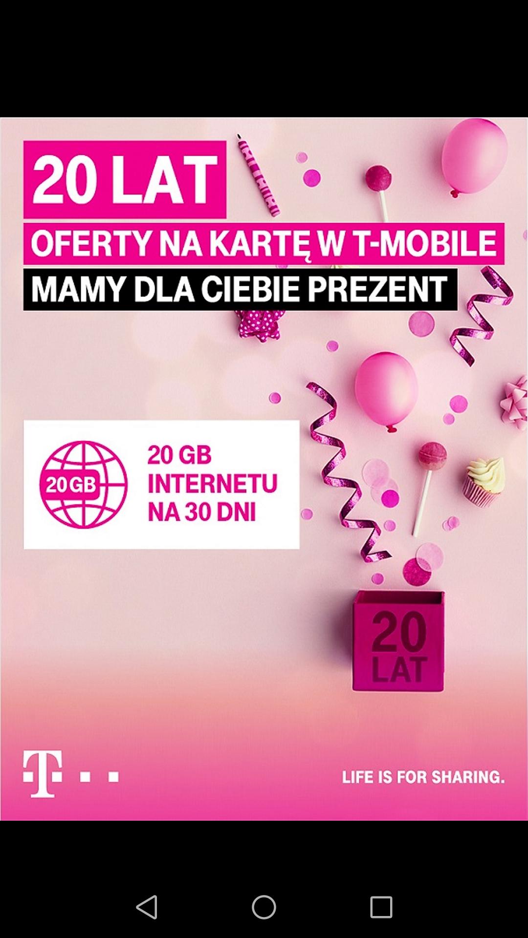 20 GB w T-Mobile za darmo.