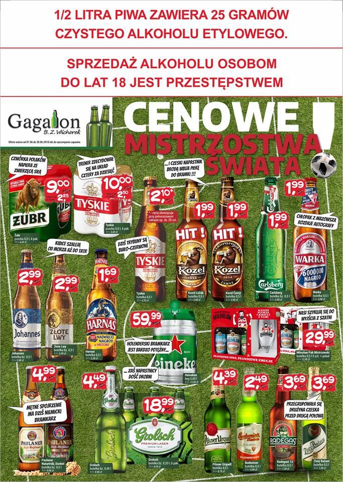 Piwa różne - Gagalon - Kozel , Carlsberg 1,99zł , Harnaś 1,69zł