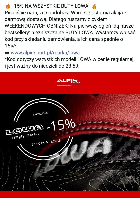 -15% na wszystkie BUTY LOWA