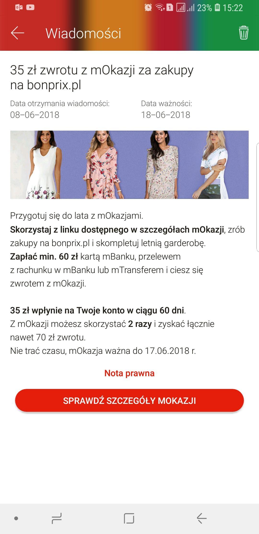 35 zł zwrotu z mOkazji na zakupy na bonprix.pl