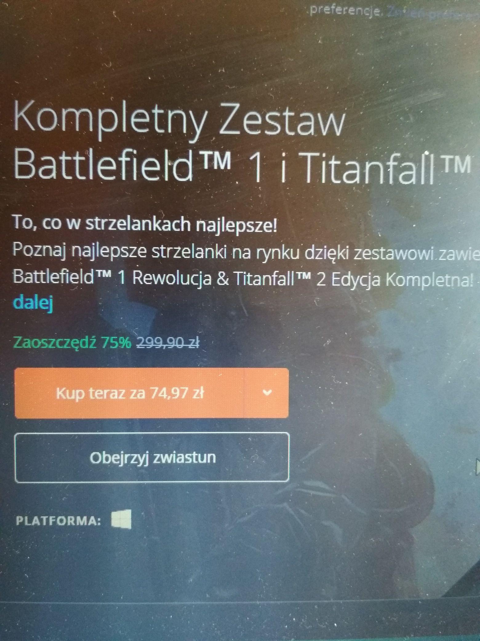 BF1 i Titanfall 2 + wszystkie DLC do obu - 75% origin