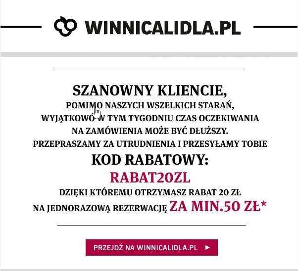 Kod rabatowy -20zl - winnicalidla.pl