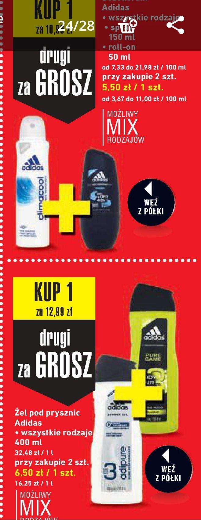 Dezodorant Adidas 2 szt. za 11zł|Żel Adidas 400ml 2 szt. za 13zł @Intermarche