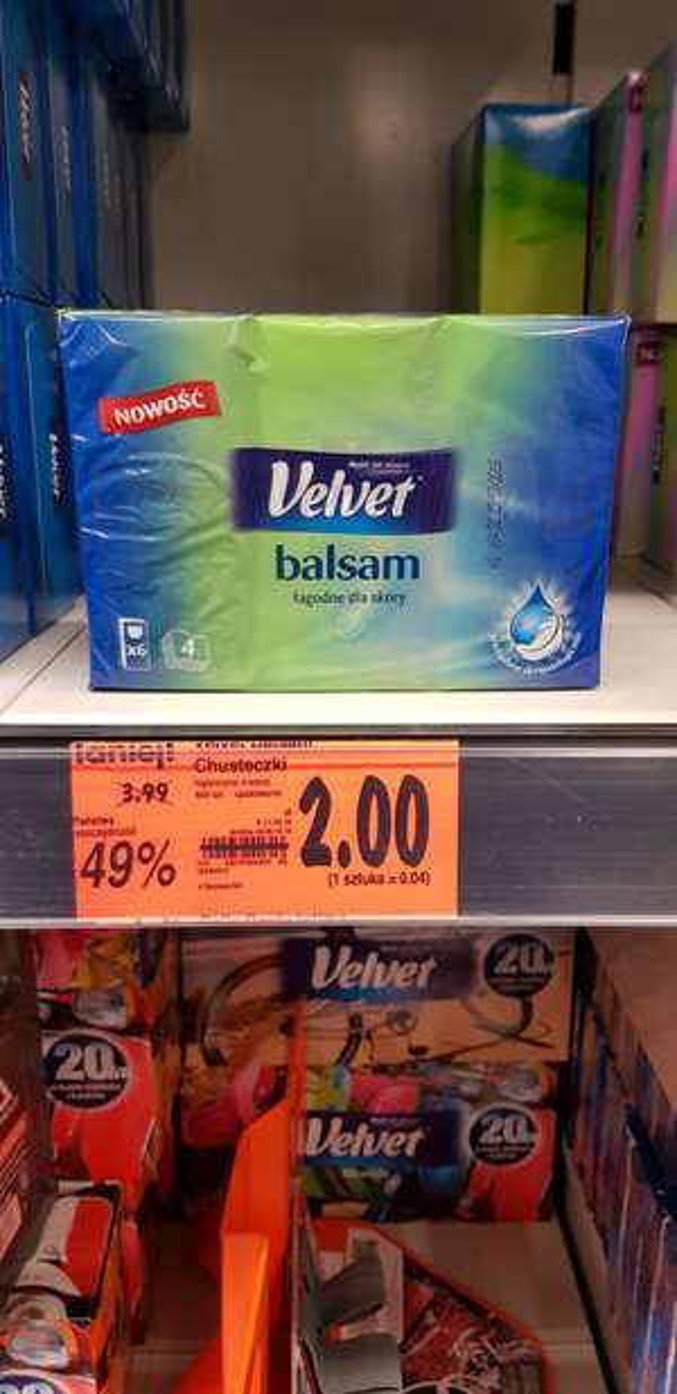 Chusteczki Velvet Balsam 6x9 szt. (Kaufland)