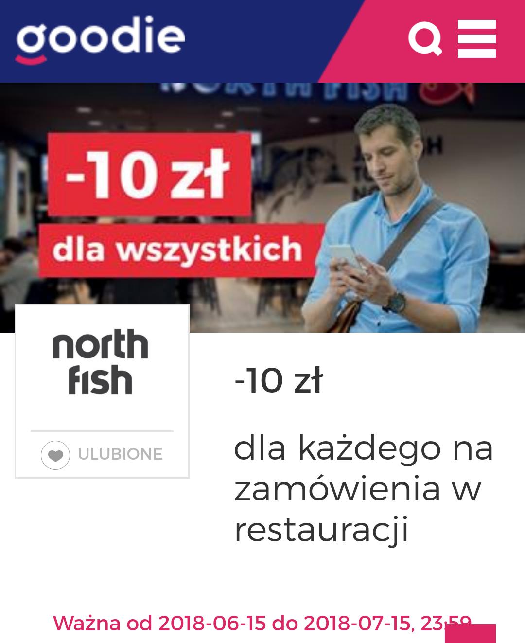 -10 zł dla każdego na zamówienia w restauracji North Fish @Goodie