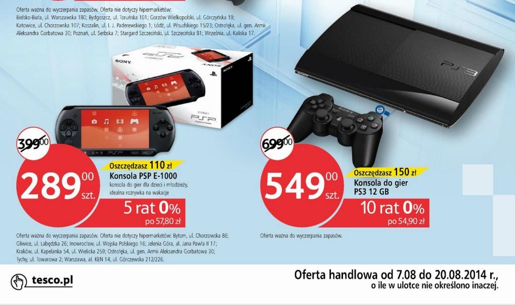 PSP za 289zł oraz Playstation 3 za 549zł @ Tesco
