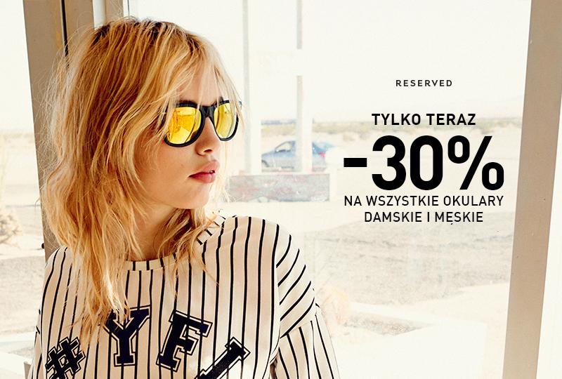 Okulary przeciwsłoneczne taniej o 30% @ Reserved