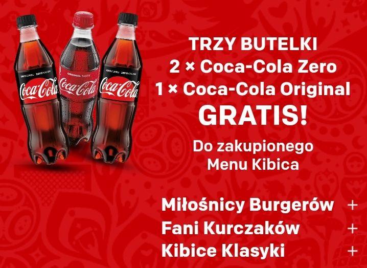 Trzy butelki Coca-Cola gratis do zestawu kibica w McDonald's przez Uber Eats