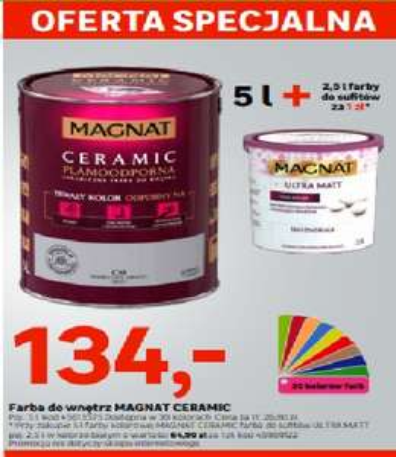 Farba Magnat Kolor 5L + Farba biała 2,5l za 1zł