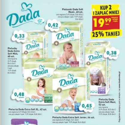 Pieluszki Dada Extra Soft za 19,99zł + promocja na słoiczki @ Biedronka