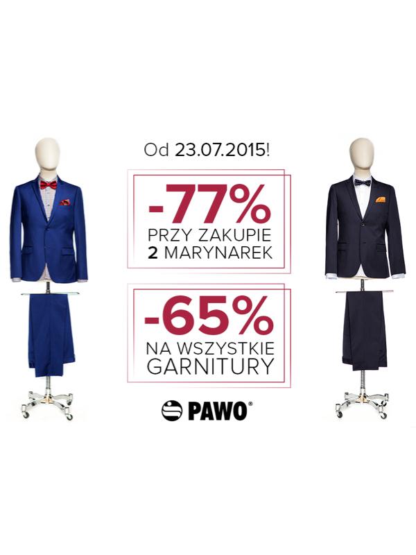 Rabat -77% na dwie marynarki i 65% na dowolny garnitur @ Pawo