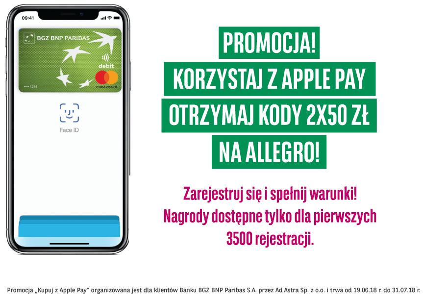 Dwa vouchery Allegro po 50 zł od BGŻ BNP Paribas za płatności Apple Pay
