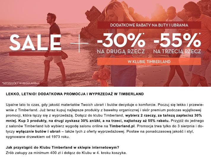 Rabat -30% na drugi i -55% na trzeci produkt, także z wyprzedaży (dla Klubowiczów) @ Timberland
