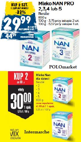 2x mleko NAN OptiPro 800g: 2, 3, 4, 5 (29,99zł za 1) @ POLOmarket i Intermarche