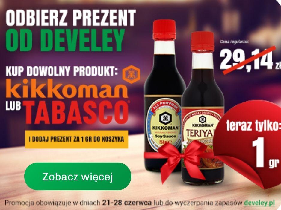 Odbierz prezent od Develey(Sos sosjowy 250ml+ Sos-marynata Teriyaki 250ml) za 1gr przy zakupie produktu marki Kikkoman lub Tabasco @develey.pl