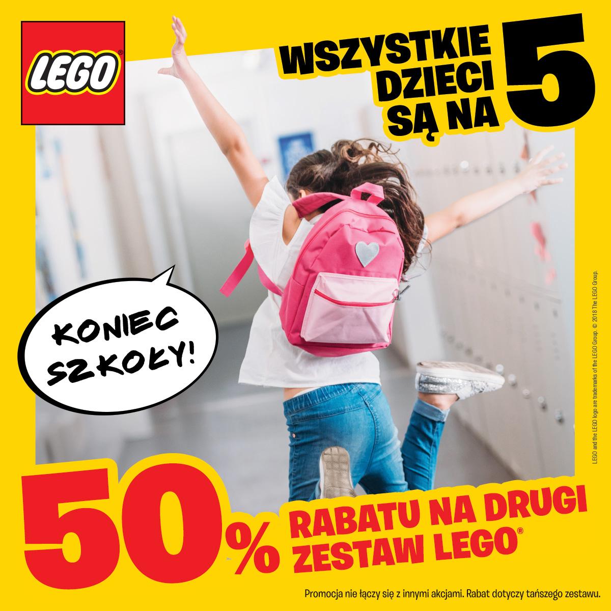 50% rabatu na drugi zestaw LEGO