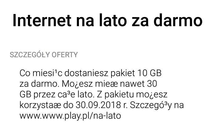 @play Internet na lato! Darmowe 30gb do końca września.