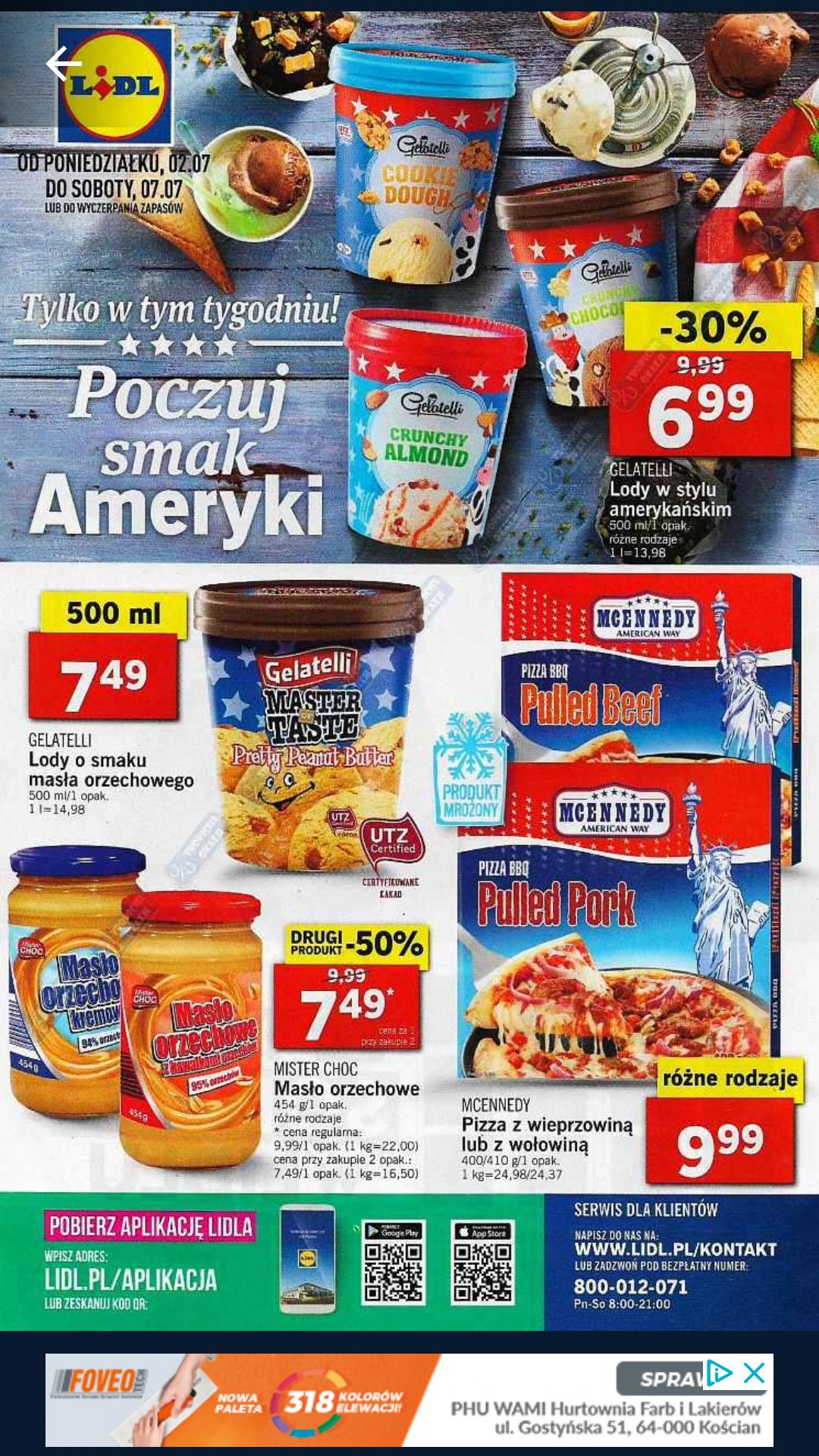 Lody gelatelli Amerykańskie Lidl 500ml