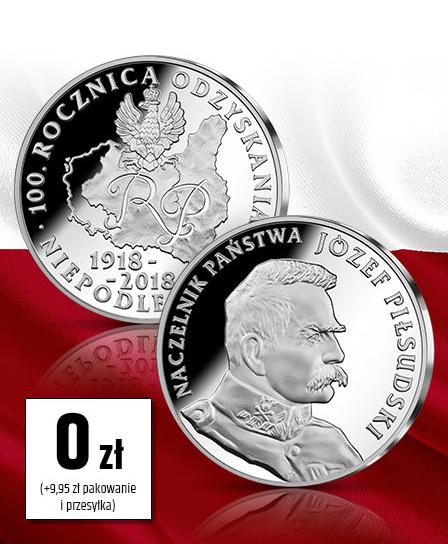 Darmowy Medal Jubileuszowy z okazji 100 lat Niepodległości Polski od Skarbnicy Narodowej