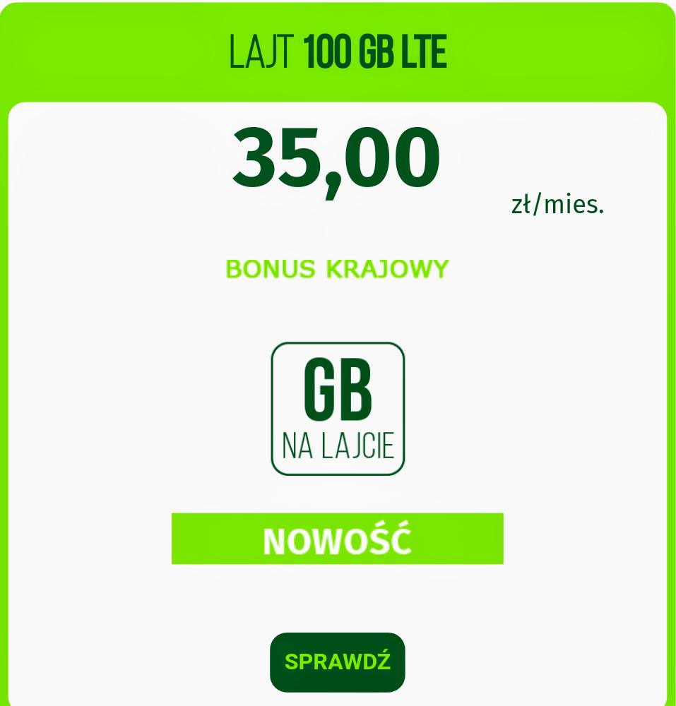 Lajt Mobile internet 100GB za 35pln