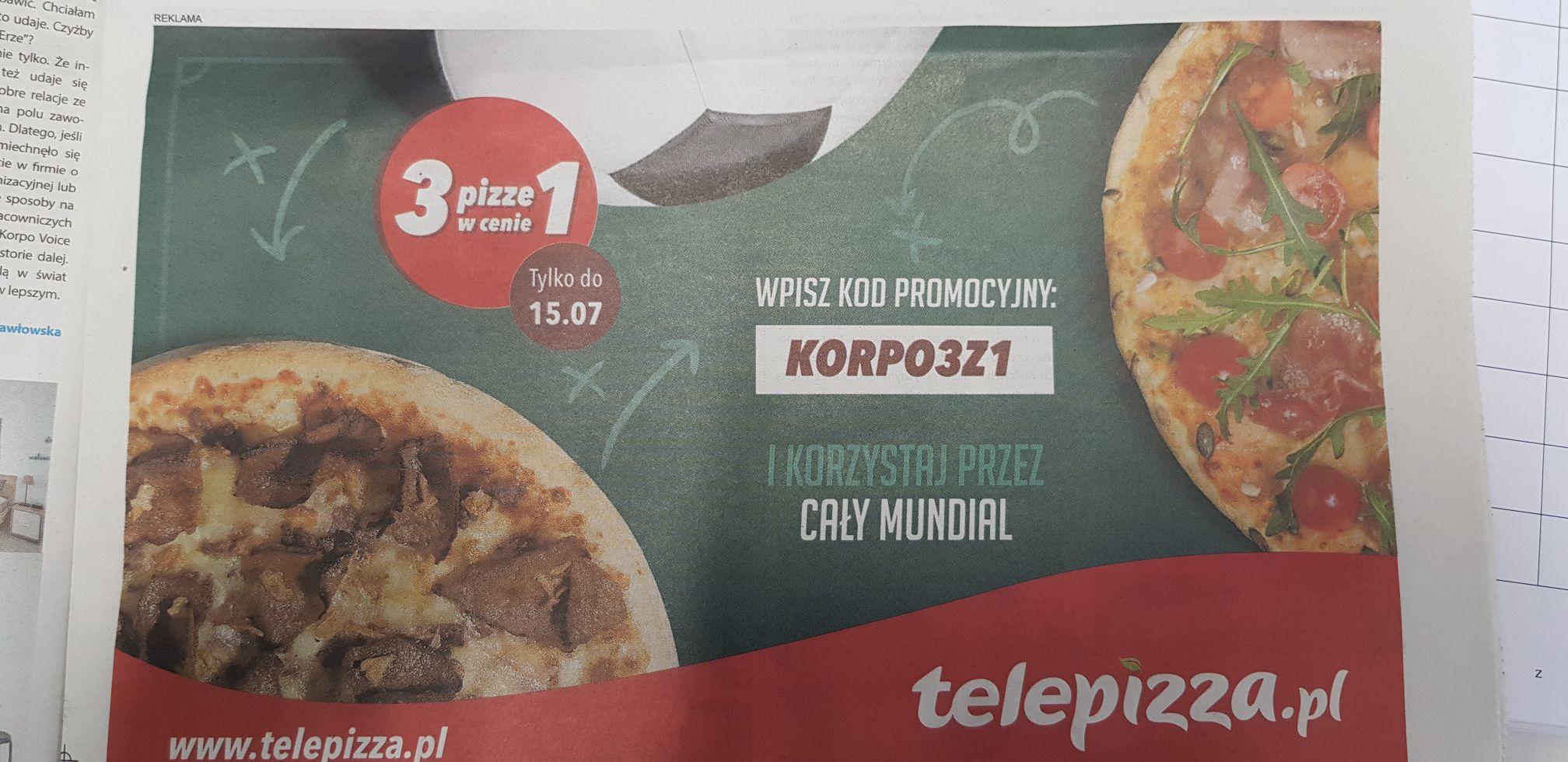 Telepizza 3 pizze w cenie 1
